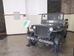The jeep on display just inside the entrance