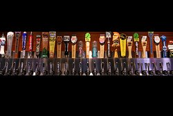 Large variety of beers on tap