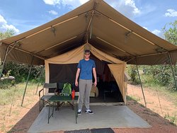 Our tent. For scale, he is 6'8 tall and could stand up in it with plenty of head space.