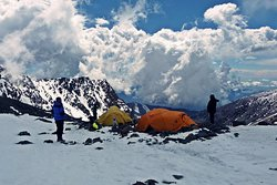 At the base camp of Tupungato Volcano expedition