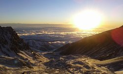 Sunrise climbing Mt Plata in one of the acclimatization program for the Mt Aconcagua Expeditions.