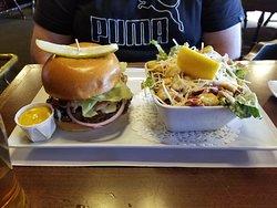 burger and caesar salad