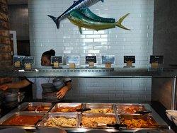 Swordfish, salmon, grilled mahi-mahi, crab soup, prawns at Mercado de Dolores