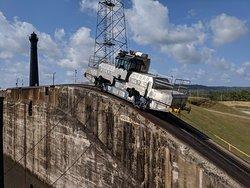 Panama Canal tug train.
