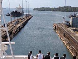 Exiting Gatun Locks into Gatun Lake, Panama Canal.