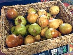 Our sweet, white heritage pomegranates ripen in September.