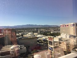View from 28th floor of Caesars Palace and the mountains beyond the city!