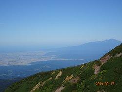 鳥海山と日本海