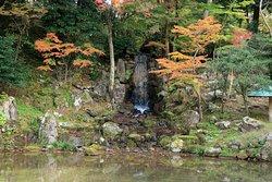 滝の風情がある池