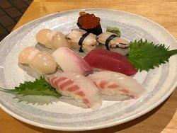sushi selection including raw abalone