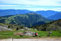 At the top of Monte Baldo - walkers and Mountain jumpers descend from here. Walkers have different trails to walk and the Jumpers are in groups and they leappff the moutain and drift down to earth !