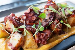OCTOPUS Grilled Octopus, Yuca, House Roasted Tomato, Chorizo Aioli, Mojo Verde