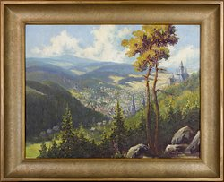 Der Kunst der Harzmaler ist  e i n  Teil der Ausstellung gewidmet. Dieses Gemälde aus dem 20. Jahrhunderts von Wilhelm Pramme zeigt einen Blick über Wernigerode mit dem Brocken im Hintergrund.
