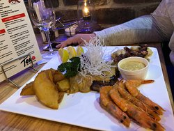 Surf and turf combo.  The prawns were amazing.