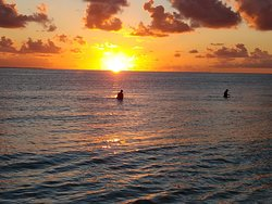 Fishing at sunset. View from one of the rooms at Abemama Green-Eco Hotel Kiribati