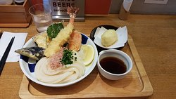 Udon seafood and vegetable set with an extra tempura egg
