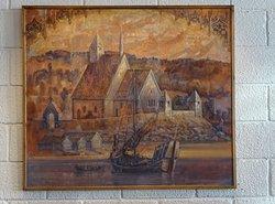 maleri af kirken med sine to vagttårne