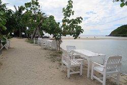 จะเจอ กับ ร้านอาหาร ที่ตั้ง โต๊ะ อยู่ ริมชายหาด ก็ มอง ตรงไป จะเห็น สันทราย ที่สามารถ เดิน ไปยัง เกาะม้า ได้ครับ