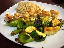 Shrimp kabob dinner entree