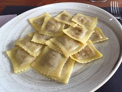 Lunch portion of fresh ravioli.