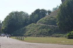 View of the inner bailey and path to the top of the motte