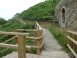 Lady's Walk and steps leading to the path wrapping around the motte