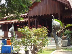 Courtyard, Batik instrument sculptures, and entrance to the hands-on Batik area.