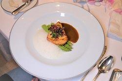 味噌烤黑鱈魚,Malabar 胡椒汁配椰子泡沫及青蘆筍