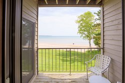 Balcony with View of Beach on Lake Michigan