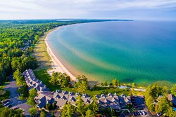 View from Above: Glidden Lodge Resort, Beach, Lake Michigan and Forest