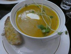 pumpkin soup with sourdough bread