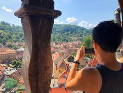 View from Sighisoara's clock tower. Photo captured during Sighisoara day trip from Brasov.
