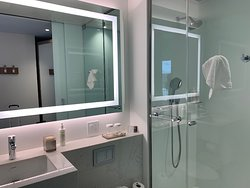 Clean, modern bathroom and great shower