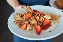 Cultured Buckwheat Crepes with Little Tin Shed strawberries, vanilla ricotta, our strawberry, ginger and rhubarb sauce and granola.  One of our faves.