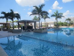 A view of the pool and pool deck.