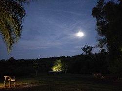 La pileta y la luna llena desde el comedor-living.