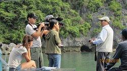 We organized a French documentary film crew, filmed in Ha Long Bay