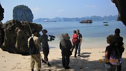 We organized a French documentary film crew, filmed in Ha Long Bay, Geologically, the formation of limestone mountains on Lan Ha and Ha Long Bay,