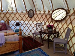 one of our yurts set up for a birthday weekend away