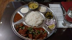 Non Veg Thali (platter) with Mutton curry