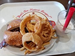 Enjoyed the Brisket Burger Platter with Onion Ring and Fries