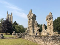 Abbey ruins with the Cathedral's new tower in the background