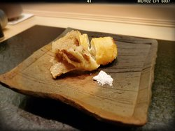 Fried Course: Flathead with Cream Cheese Wrapped in Dried Bean Curd, Maitake Mushroom