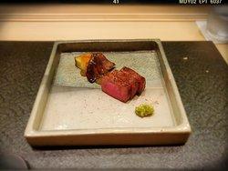 Meat: Satsuma Beef Sirloin, Eggplant, Abalone Mushroom, Wasabi