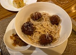 Pasta with Mushroom Meatballs which were deep-fried and burnt.