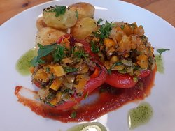 Roast pepper with squash and pistachio filling
