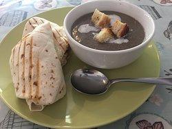 Cajun wrap + mushroom soup