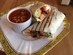Vegan breakfast wrap + beans