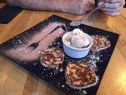 Cocoa pancakes and salted caramel ice cream...Mmmmmmm