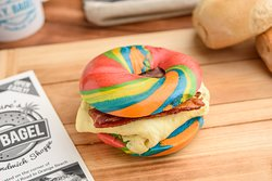 Our Rainbow Bagel makes every Breakfast Sandwich FUN!